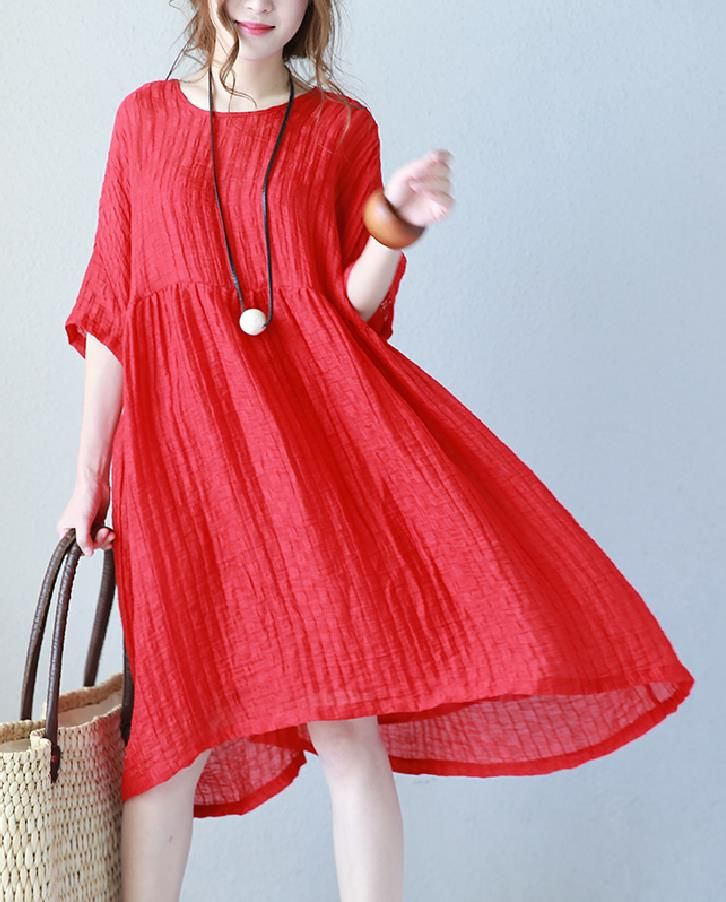 High Quality Silk Linen Plus Size Dress Summer Red Dress With