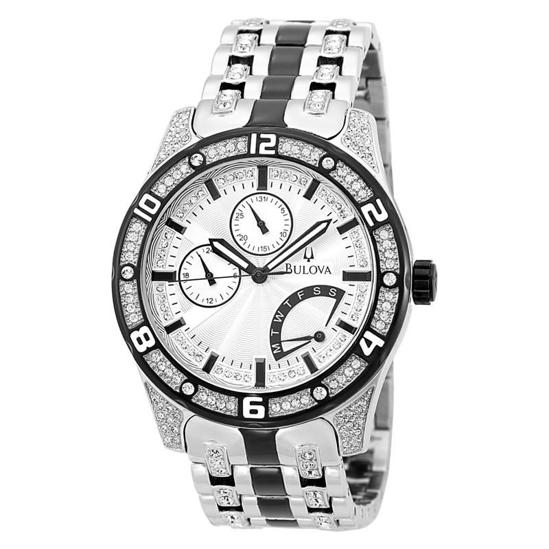 sheen bulova watches bulova watches tops bulova bulova men s crystal silver and white dial bracelet watch watch