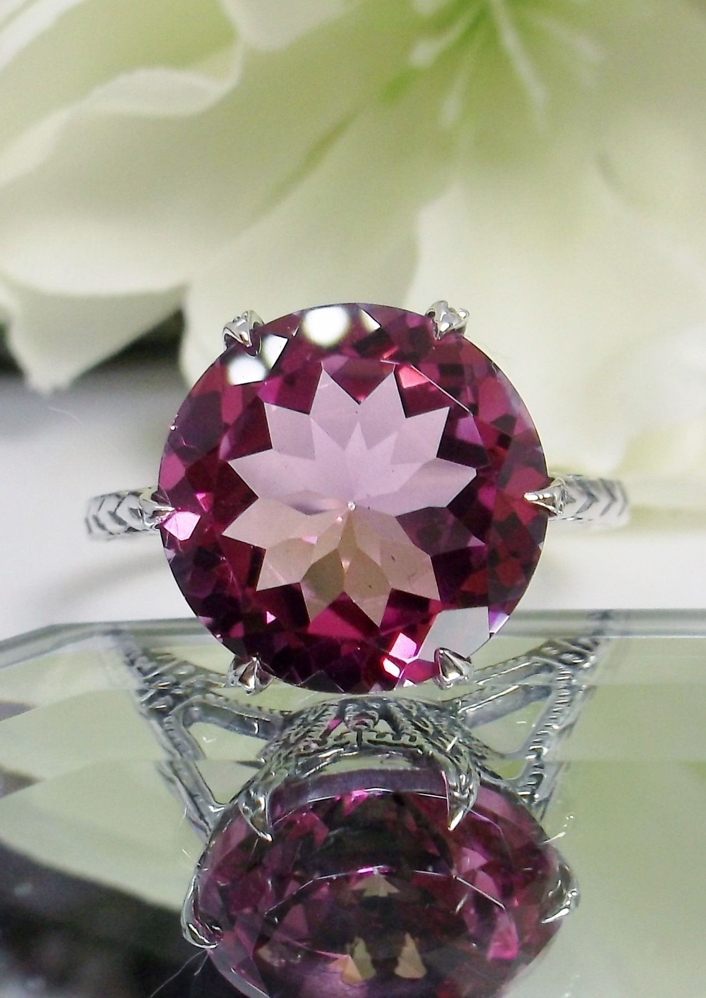Design#37 In Stock Natural Pink Topaz Ring Size 5 Solid Sterling Silver 7ct Round Cut Pink Topaz Edwardian 1910 Filigree