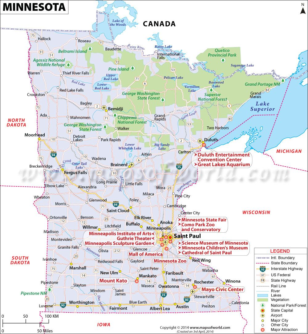 Minnesota map showing the major travel attractions including