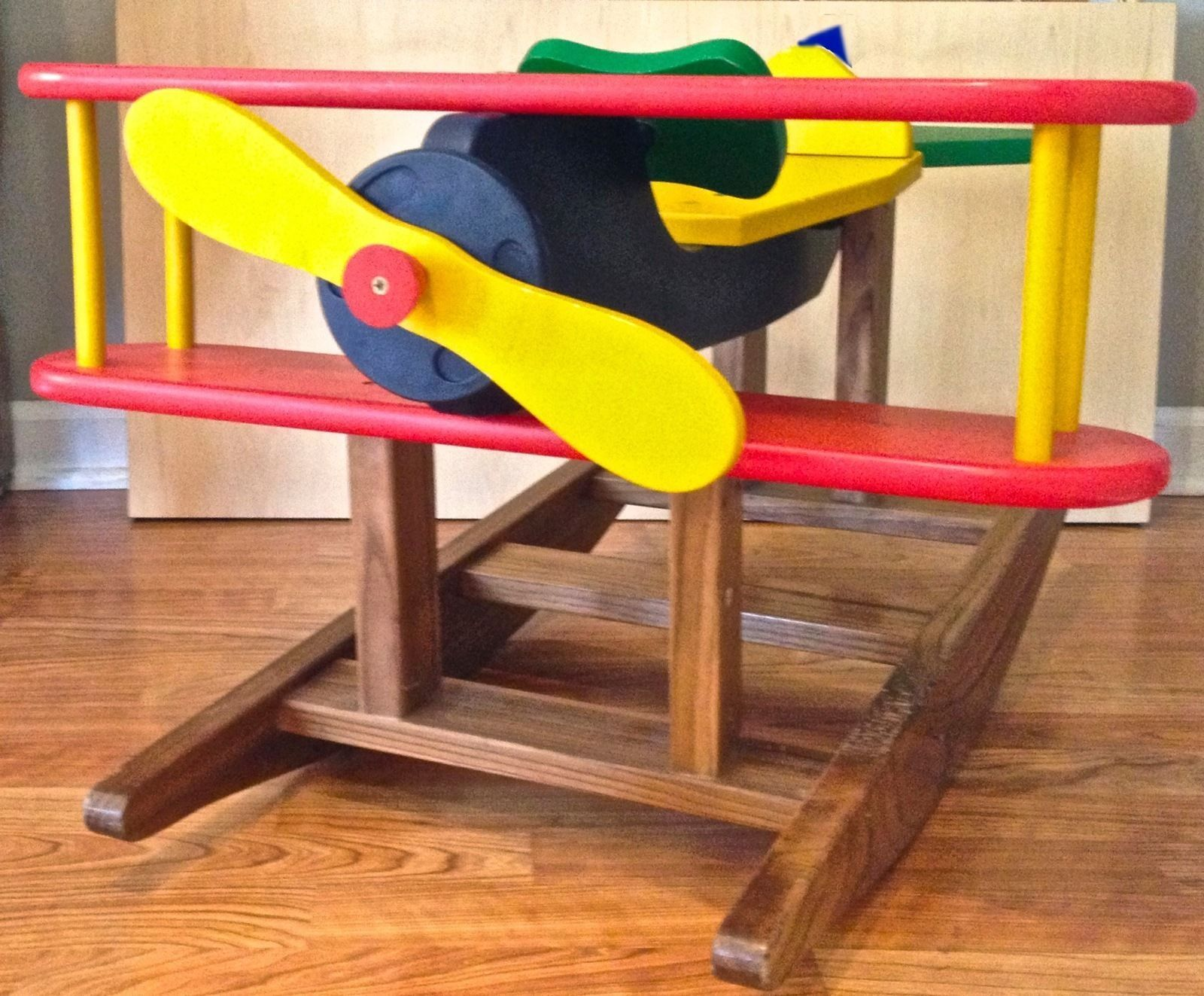 Kids Wooden Rocking Airplane Designed By Robert McClough Up for