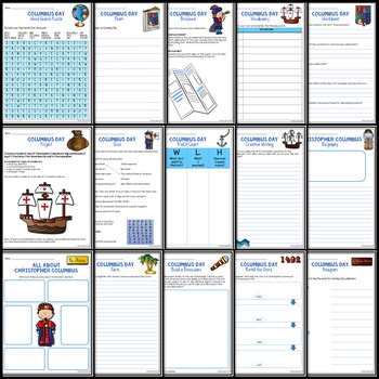 Columbus Day Worksheets with Blackline Copy & Answer Key ...