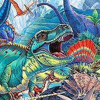 Jurassic Oasis - Water Blue - DIGITAL PRINT #dinosaurfossils eQuilter Dinosaurs, Fossils & Natural History #historyofdinosaurs