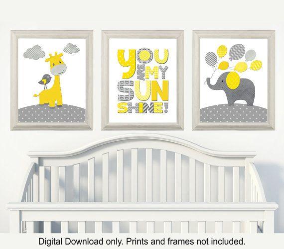 Gelb und grau giraffe und elefant kinderzimmer du bist mein sonnenschein zimmer kinderzimmer - Graues kinderzimmer ...