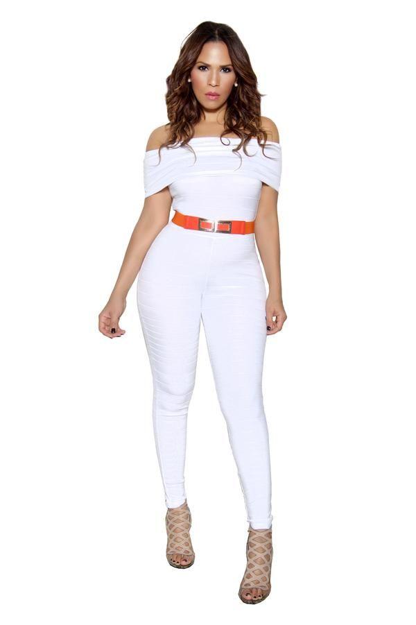 7f78ad503c48 White Off Shoulder Bandage Bodycon Jumpsuit - MY SEXY STYLES - 1 ...