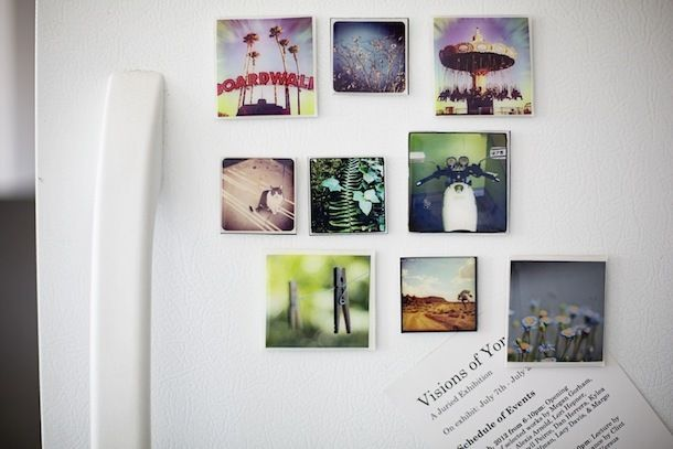 Homemade magnets with pictures for presents. Must do this! :)