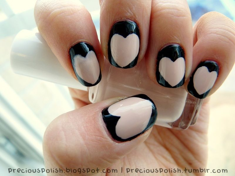 Black and Nude Hearts #beauty #nails