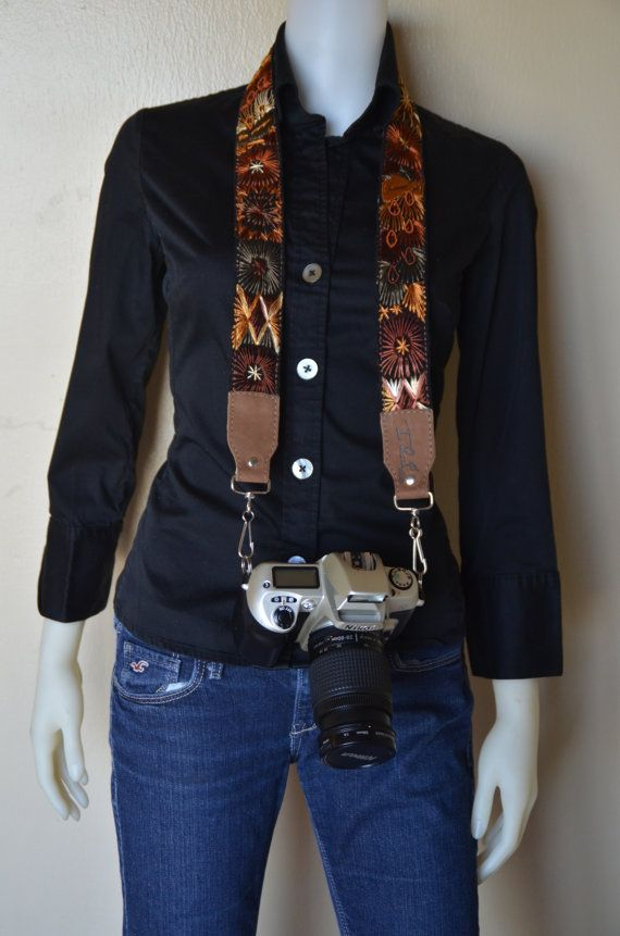 Multicolor Leather camera strap Embroidered camera strap by IKALA