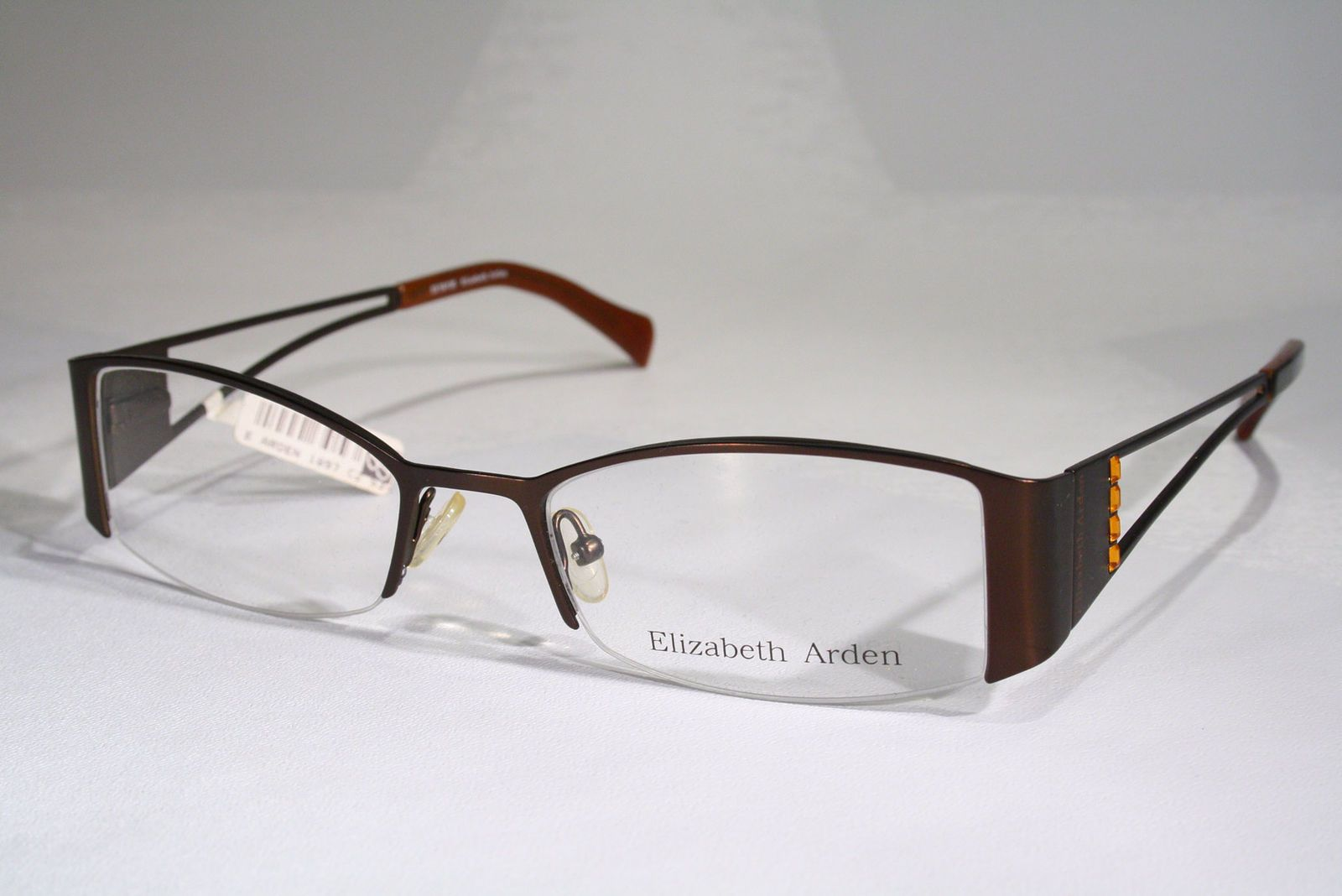 ELIZABETH ARDEN Women\'s Dark Copper Half Rimless Optical Eyeglass ...