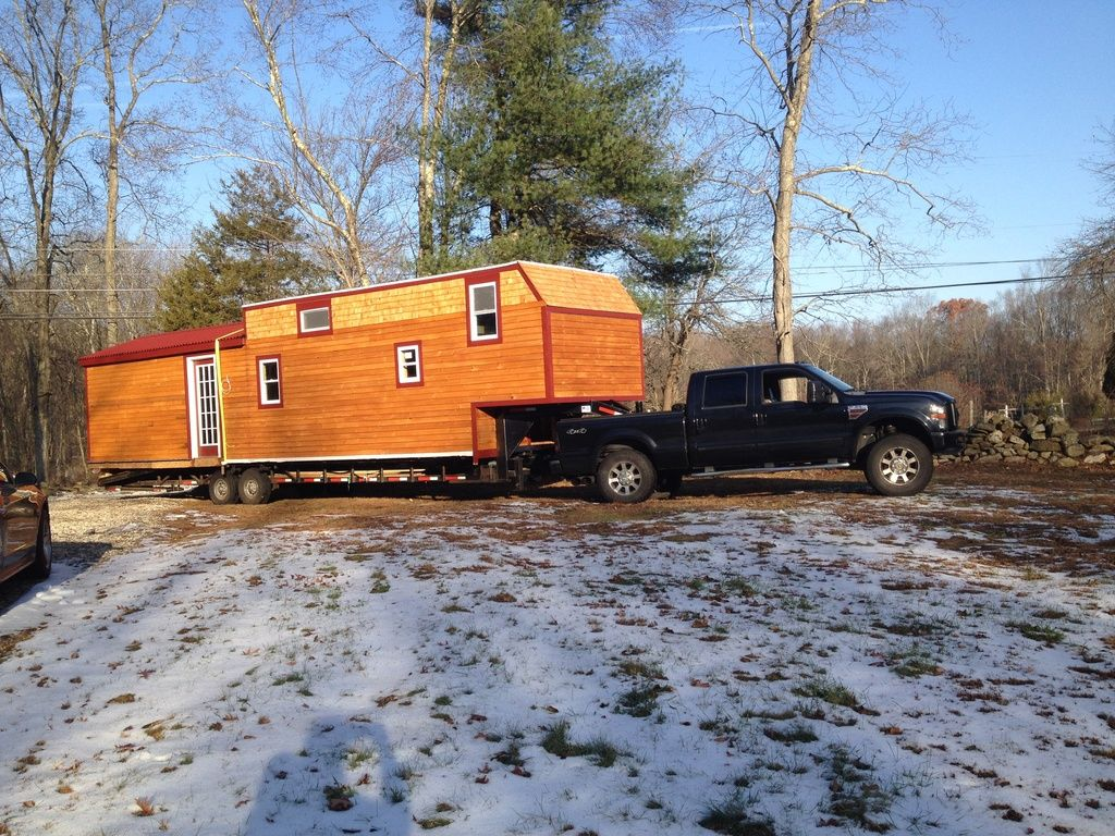 A Rusitc Tiny House Built Onto A 44ft Gooseneck Trailer And Currently Available For Sale In Pomfret Ce Tiny House Trailer Modern Tiny House Gooseneck Trailer