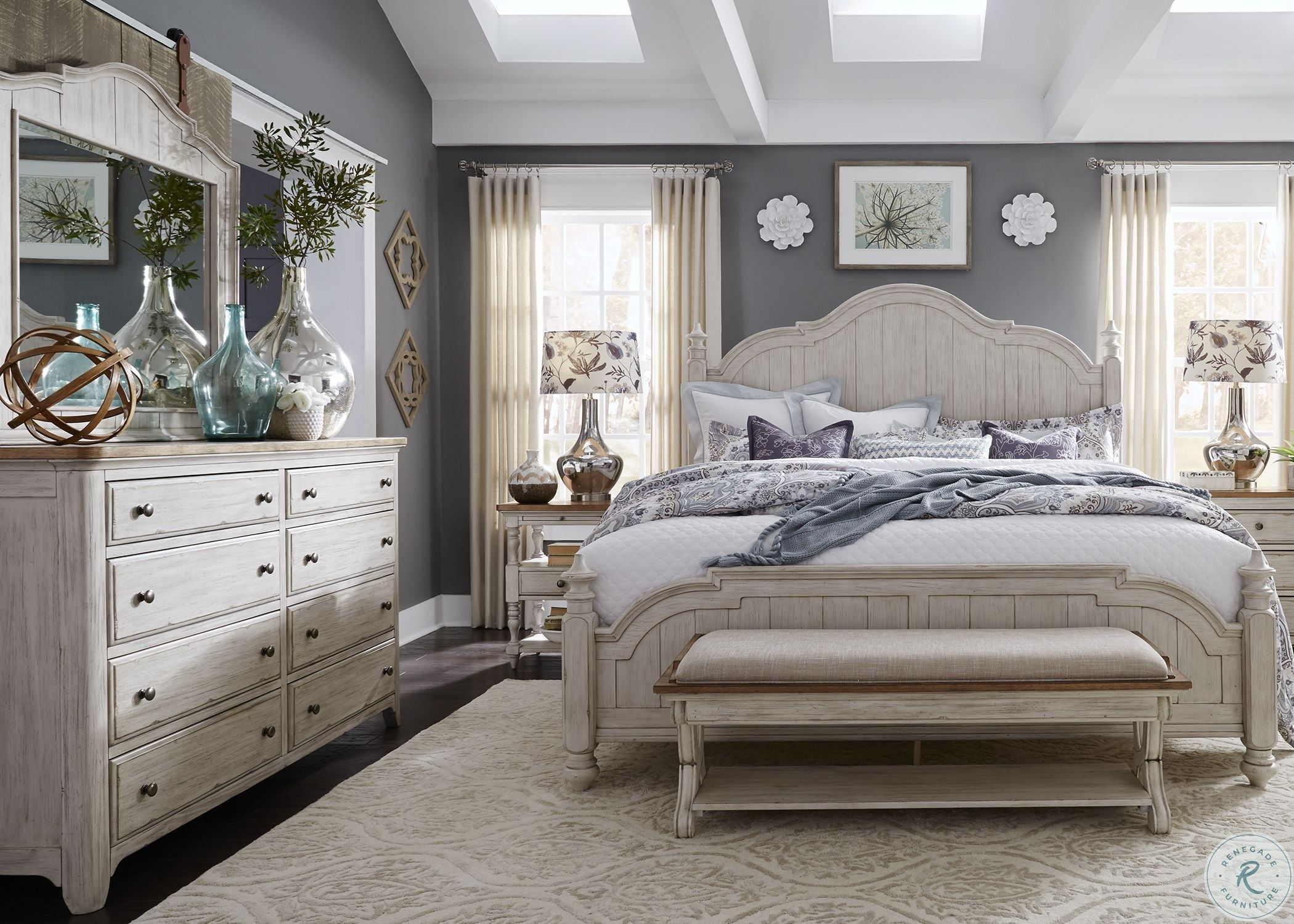 Farmhouse reimagined antique white panel bedroom set in