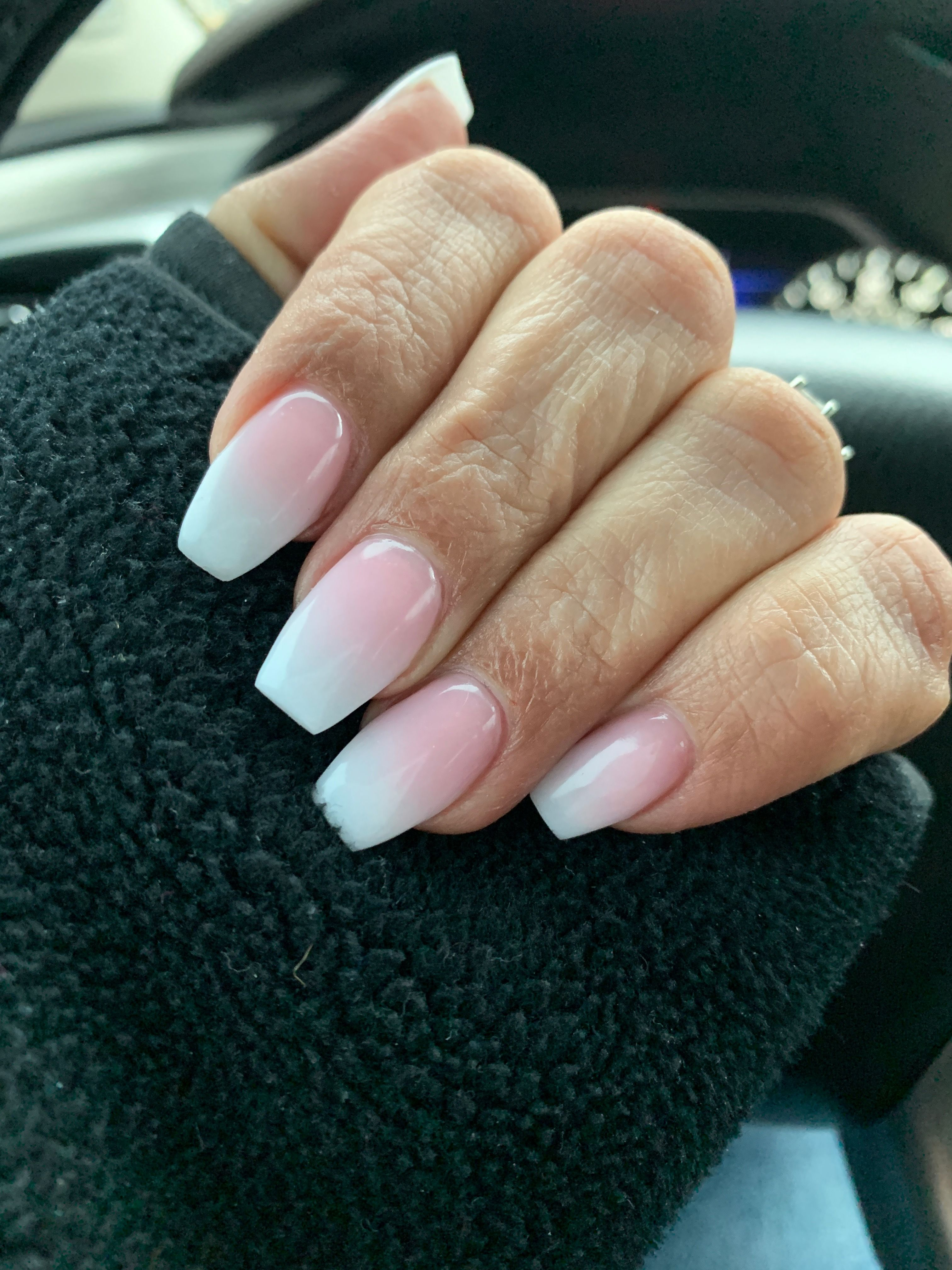 Dipped natural ombré coffin shaped nails dippednails in