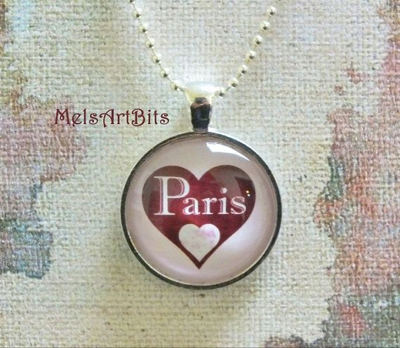 Paris Love Heart Merlot Marsala Glass Pendant by MelsArtBits