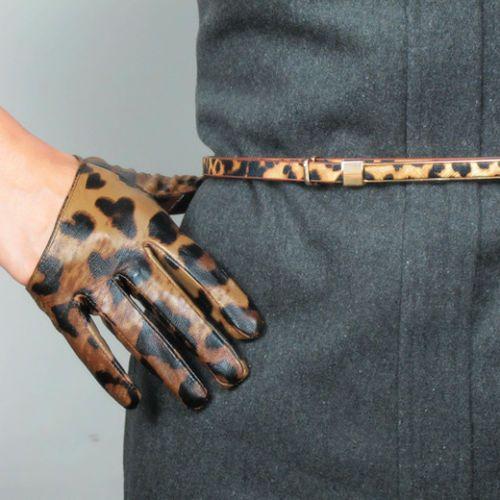 Real Leather Half Palm Short Gloves Black Red Rose Blue Yellow Genuine Sheepskin