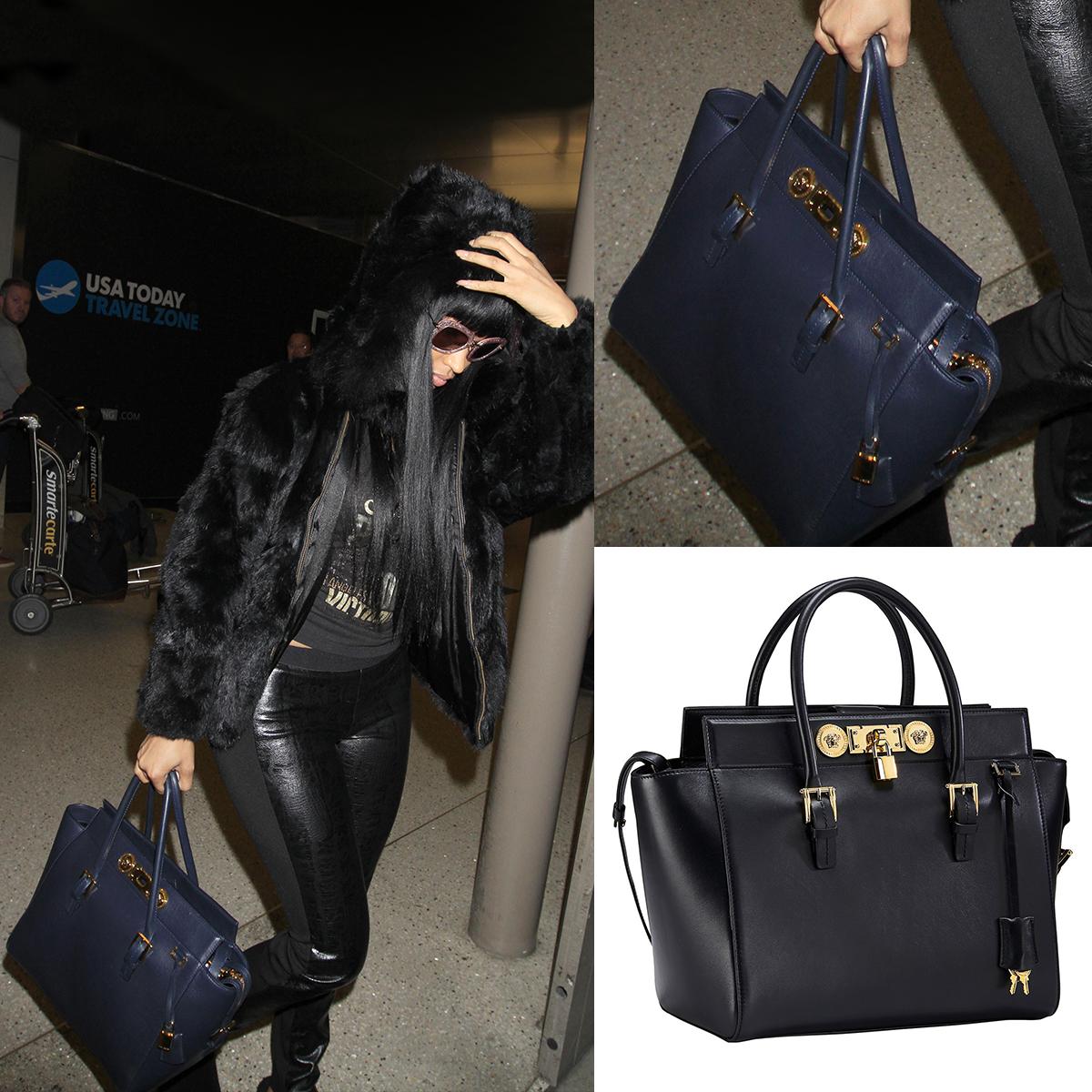 Nicki Minaj Was Gorgeous At Lax Airport Carrying The Blue Versace Lock Signature Bag Versacesignaturebag Versacecelebrities Versace Outfit Fashion Versace