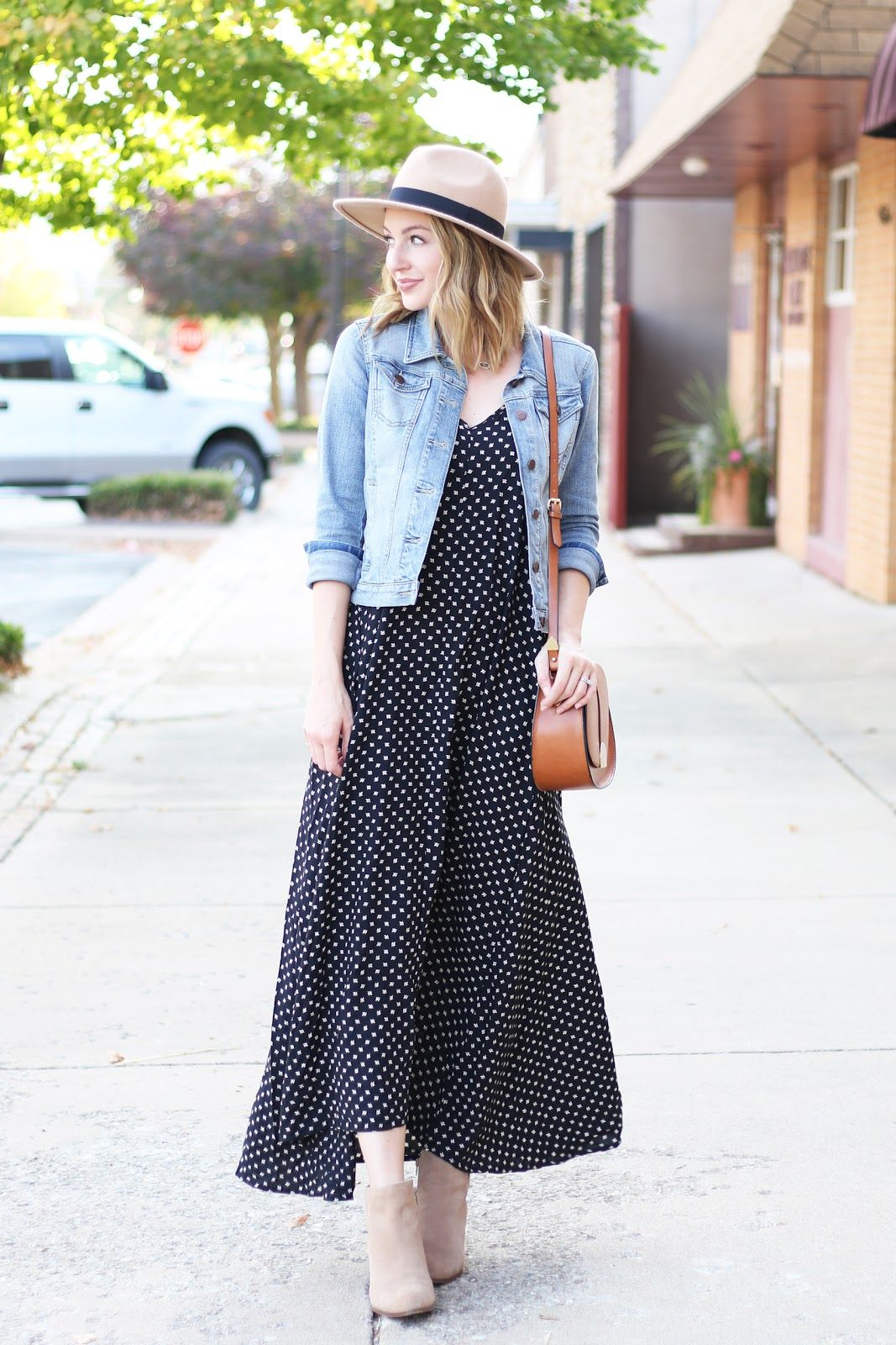 Maxi dress with denim jacket | Love, Lenore | Pinterest | Denim ...