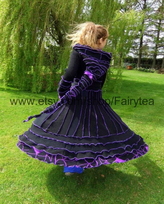 Black and purple Elf Coat - uPcYcLeD SwEaTeRs - One of a kind. €295,00, via Etsy.