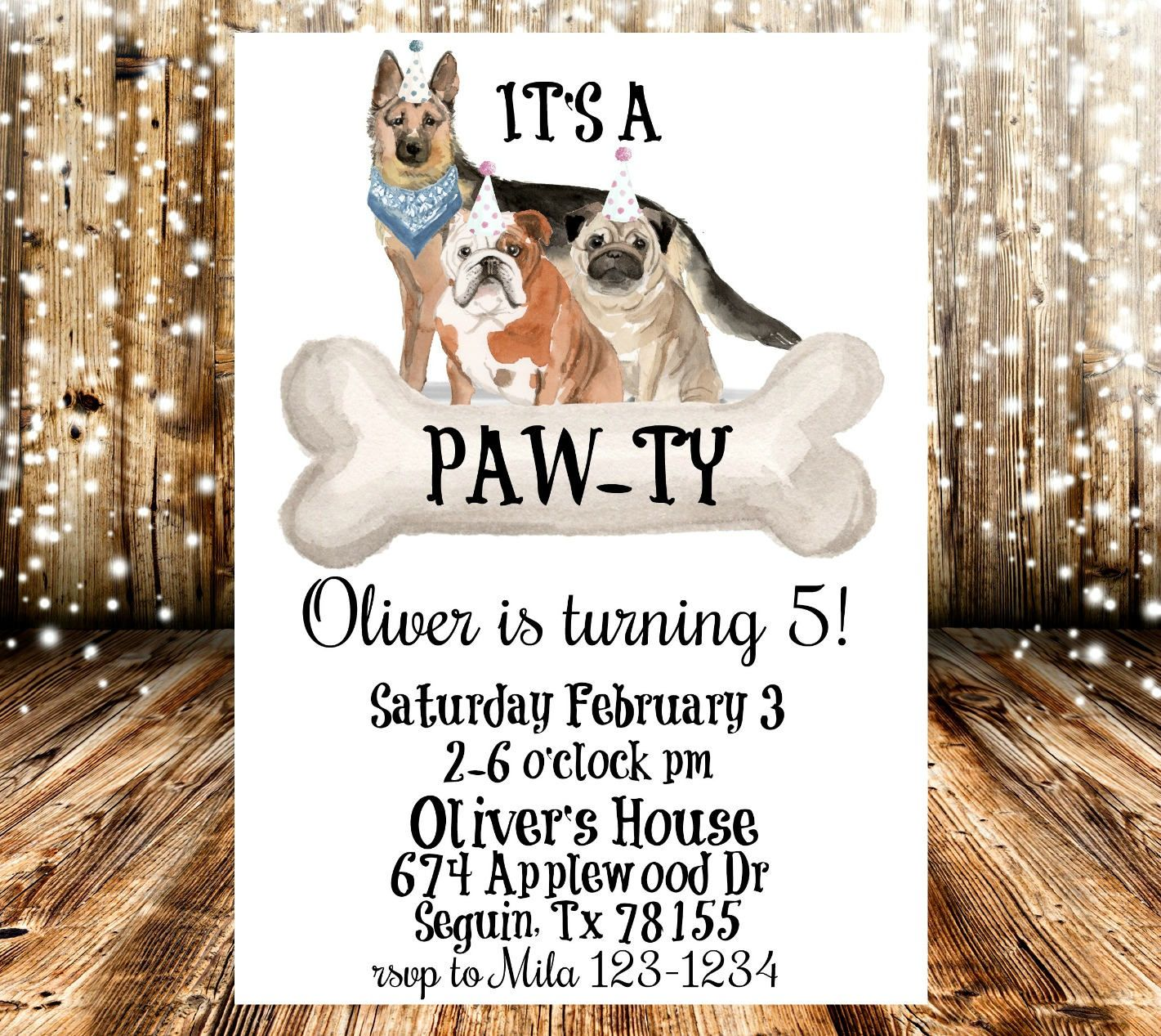 It\'s A Pawty Dog Themed Birthday Party invitation by ...