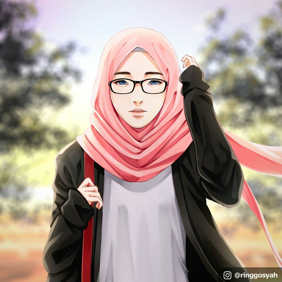 A pretty girl with hijab and glasses. drawing artwork