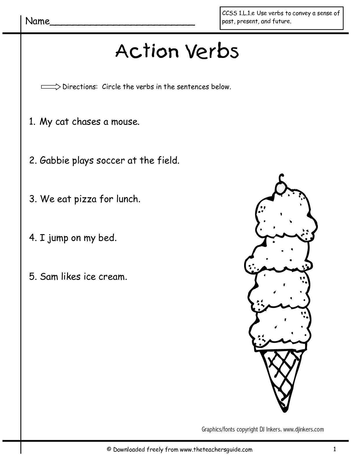 Verbs Worksheet First Grade Verb Worksheet In