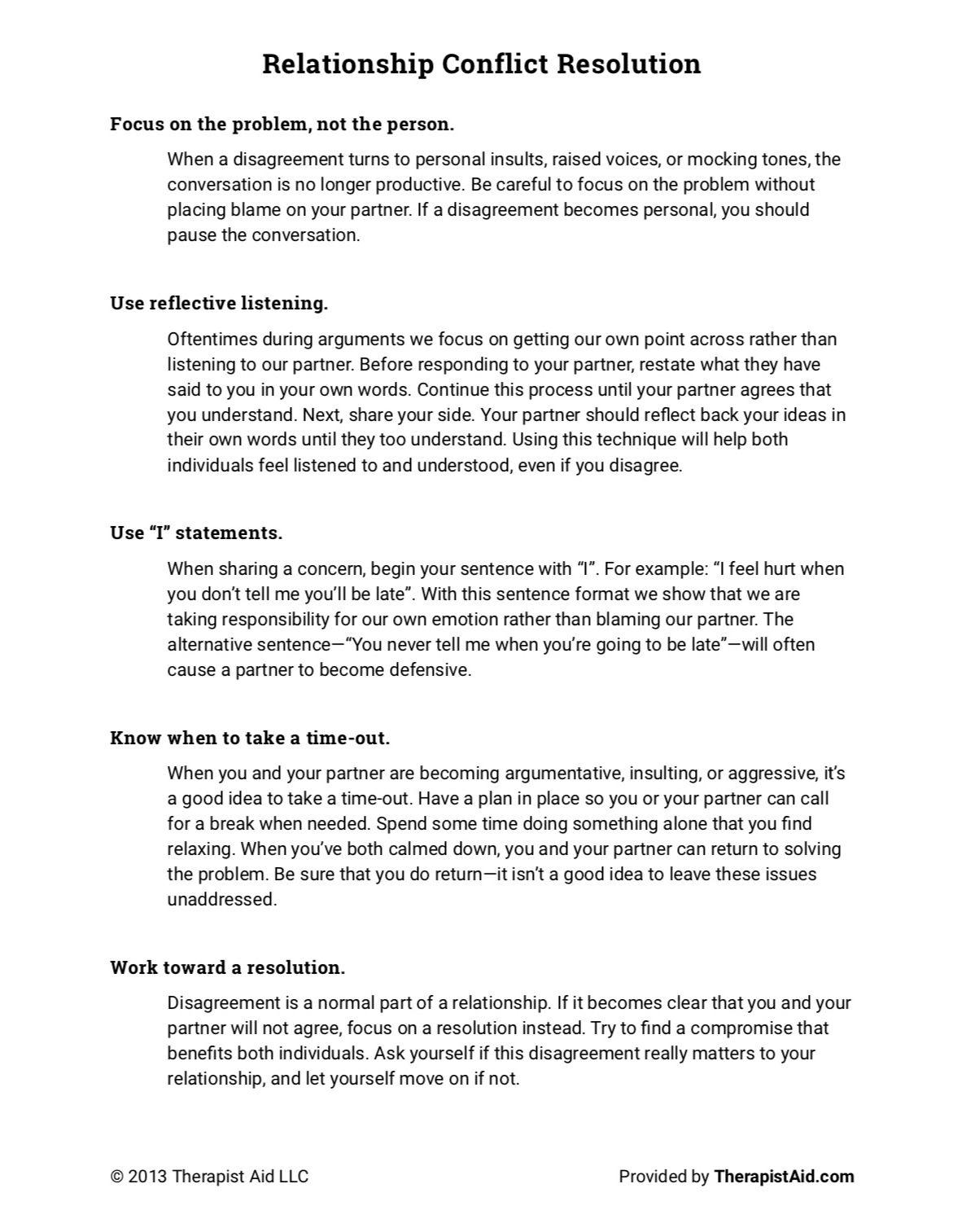 Relationship Conflict Resolution Worksheet