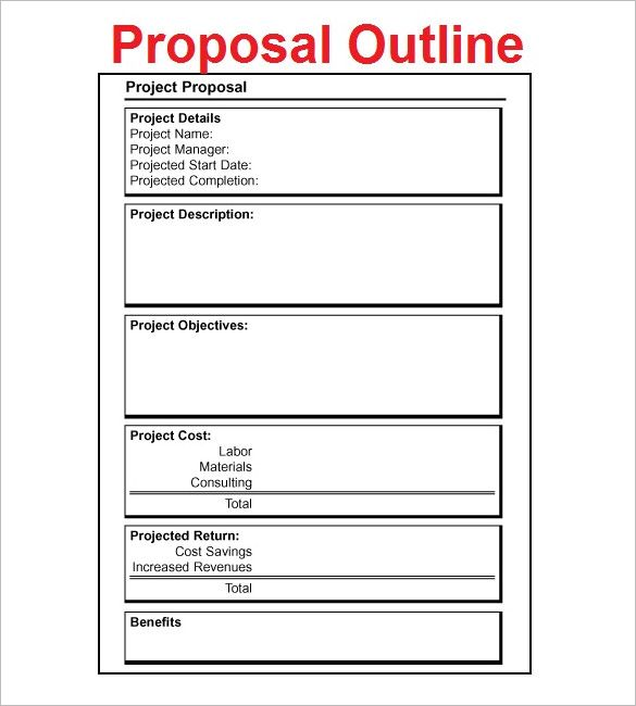 Proposal Outline Template u2013 9+ Free Free Word, PDF Format Download - project proposal template word