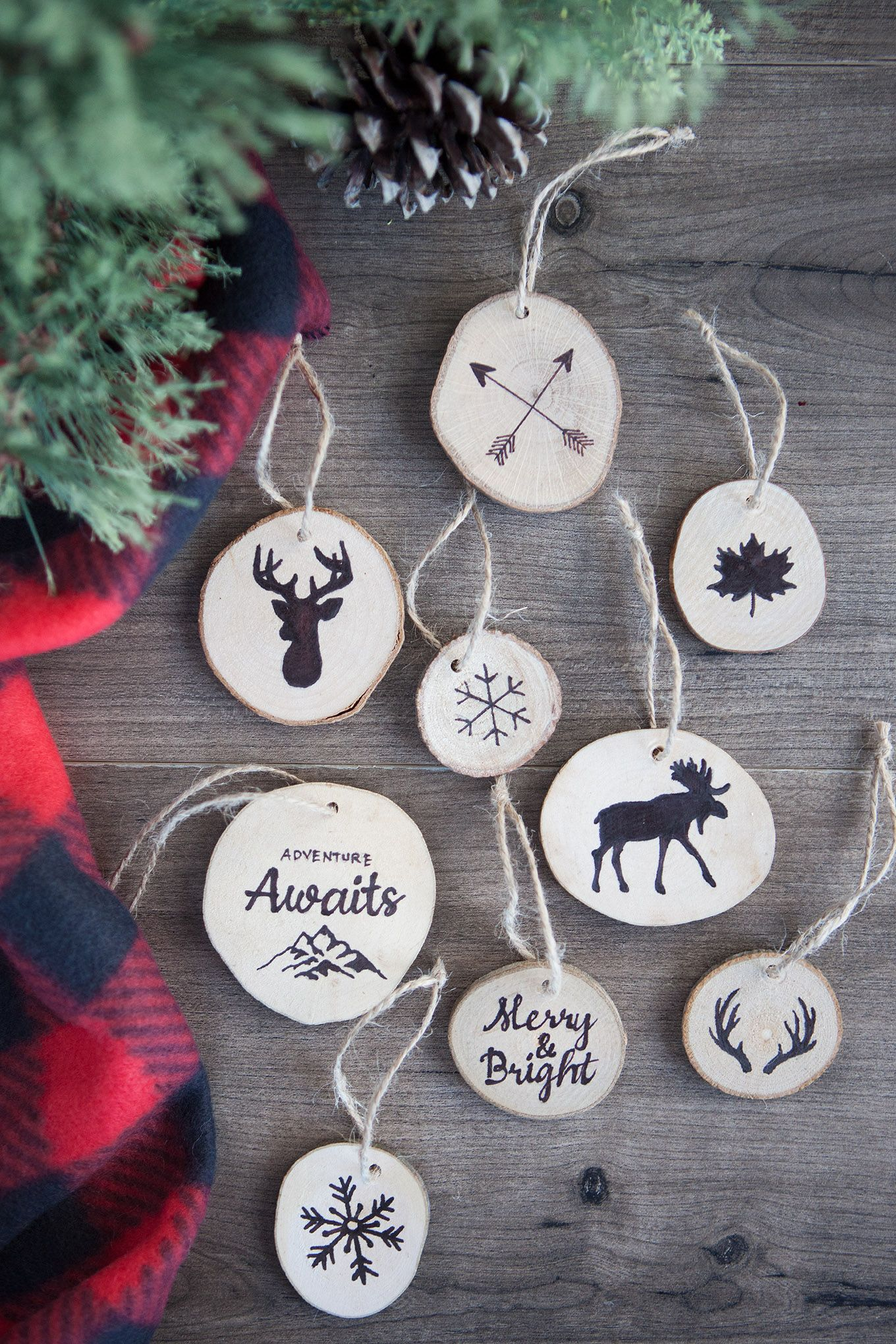 Faux Wood Burned Christmas Tree Ornaments Farmhouse Christmas Ornaments Diy Christmas Ornaments Rustic Christmas Ornaments