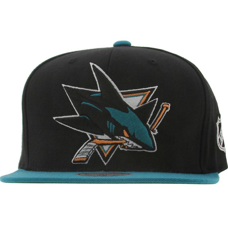 c6e5ced5be9 Mitchell And Ness San Jose Sharks Sta3 Wool Snapback Cap (black   teal)  NJ27Z-7SHARKBTL -  25.99