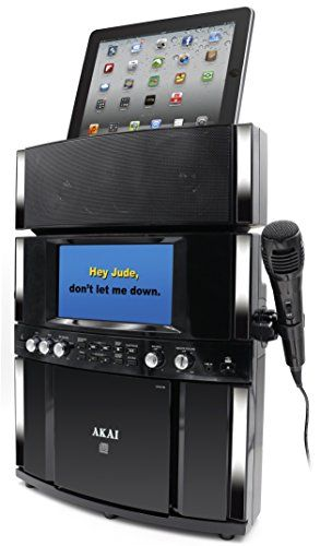 """$103-75 Akai KS800  CD&G Karaoke System  Front Loading CD&G Player & 7"""" Color Display USB Port for MP3/MP3G Playback & Record Features Auto Voice Control, Echo and Balance Controls and Digital Key Control Tablet Holder, Line-In Function, 10 Watts Includes Tablet Cradle, Microphone, AV Cord, Line Cord, Demo CD&G & AC Adapter Front Loading CD&G Player & 7"""" Color Display USB Port for MP3/MP3G Playback & Record Features Auto Voice Control, Echo and Balance Controls and Digital Key Control"""