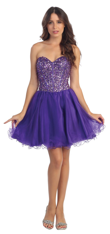 Studded Corset Bodice Strapless Short Purple Prom Dress   Prom ...