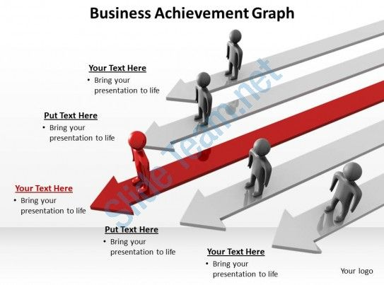 Business achievement with arrows and men standing graph