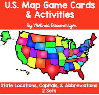 U.S. Map Stencil game cards for learning states, capitals ...