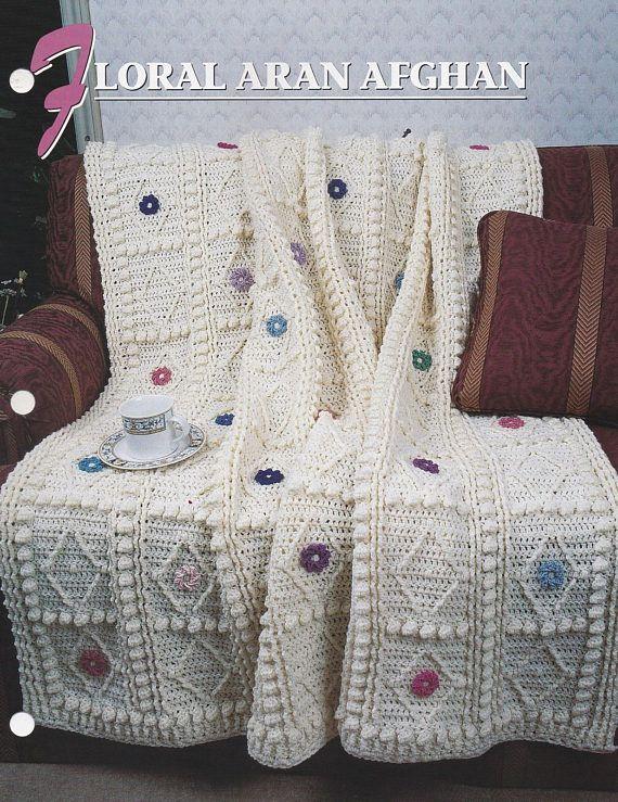 Floral Aran Afghan Annies Crochet Quilt Afghan Pattern Crochet