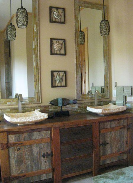 Bathroom Furniture Rustic Vanities Barnwood Vanity Hammered Copper Sink Stone Pedestal Sinks
