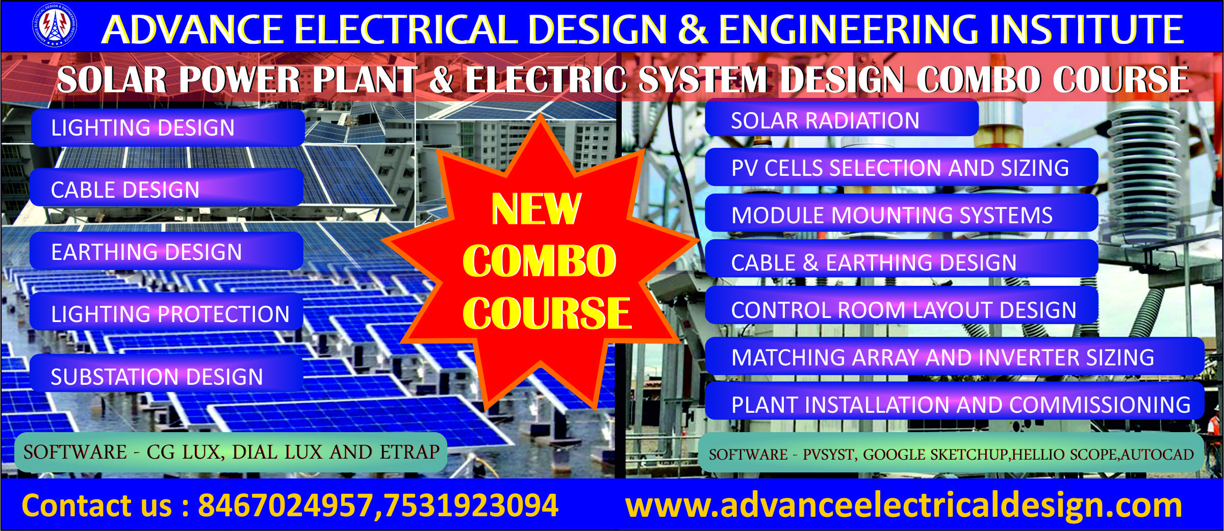 hight resolution of solar power plant design and electrical system design courses