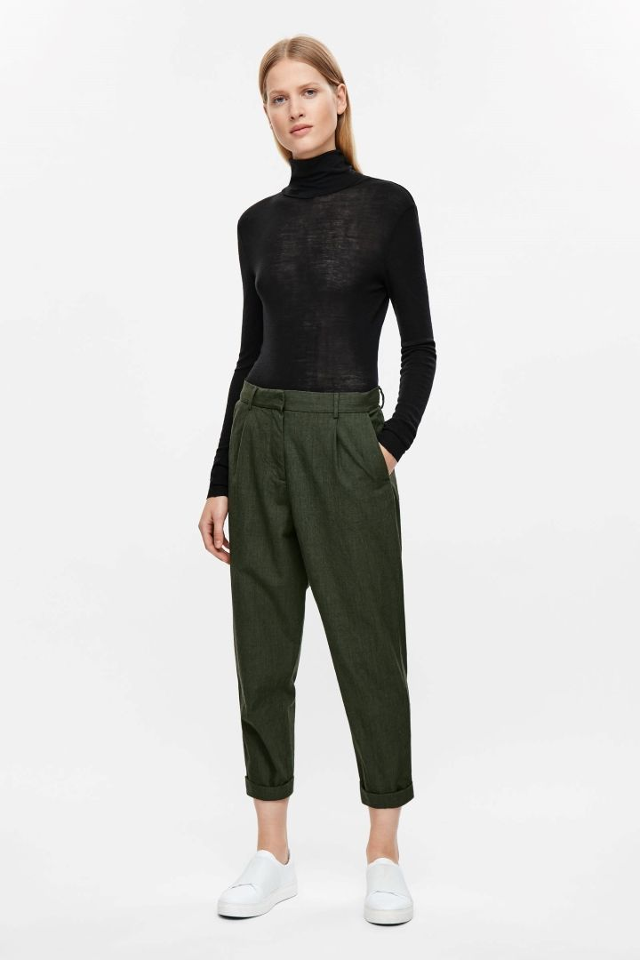 d196b61309 COS | Relaxed wool chinos | Wishlist - COS | Trousers women, Cropped ...