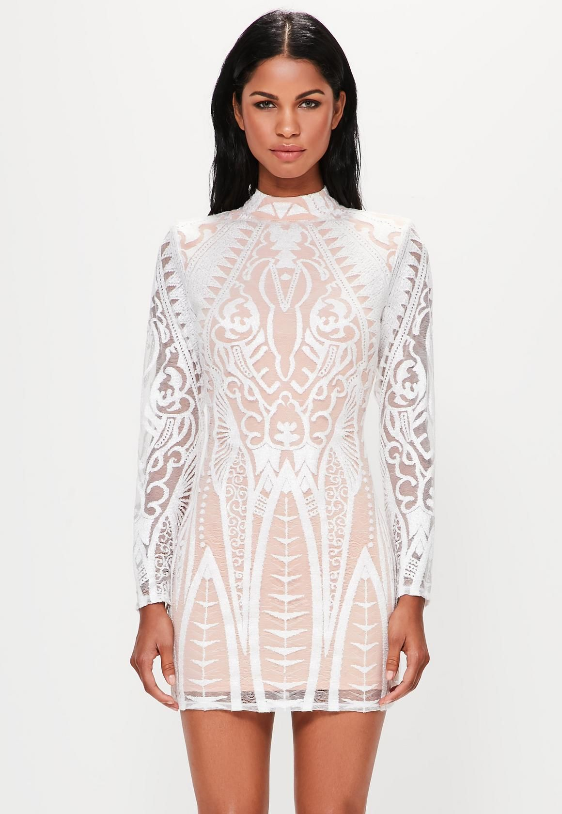 5931748874ce Missguided - Peace Love White Placed Lace High Neck Mini Dress White Long  Sleeve Dress,