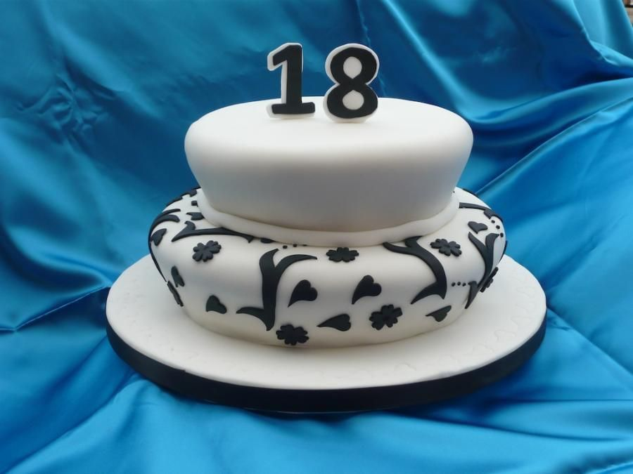 18th birthday cakes Black And White 18th Birthday Cake Blueberry