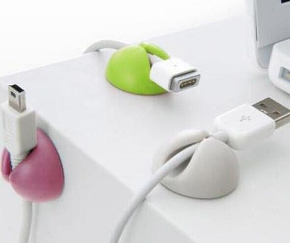 Cable Drop Clip Desk Tidy Organizer Wire Cord Lead USB Charger Holder PINK 6pcs
