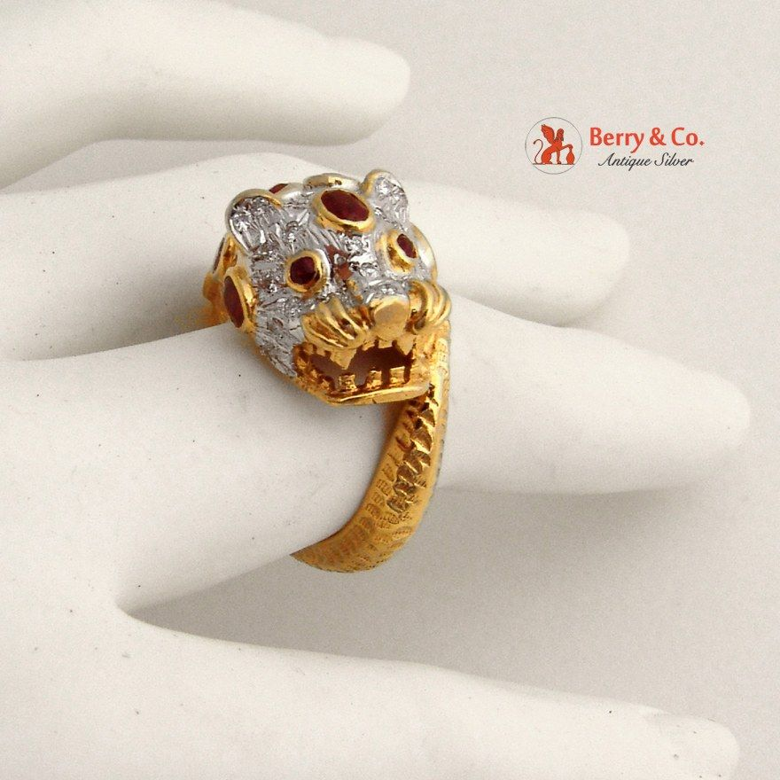 18k Gold Leopard Ring Rubies Diamonds Panther Head Vintage Berry Co Tahitian Pearl Ring 18k Gold Ruby Diamond