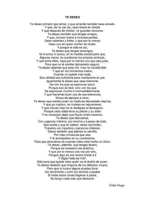 Fragmentos De Te Deseo Del Gran Victor Hugo Poemas De
