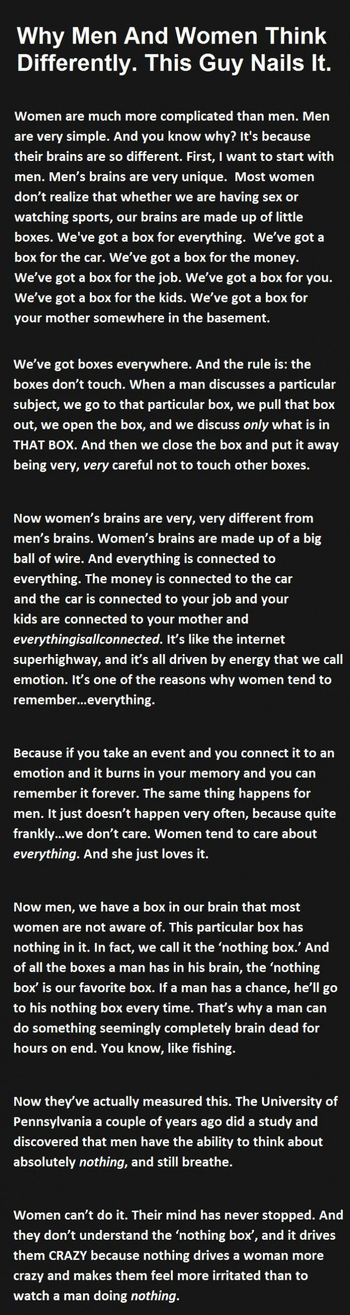Quotes About Men And Women Why Men And Women Think Differentlythis Guy Nails It Woman
