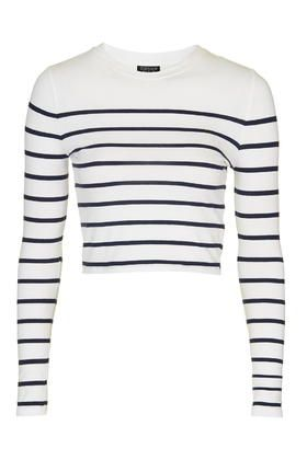Engineered Stripe Crew Neck Top - New In This Week - New In - Topshop