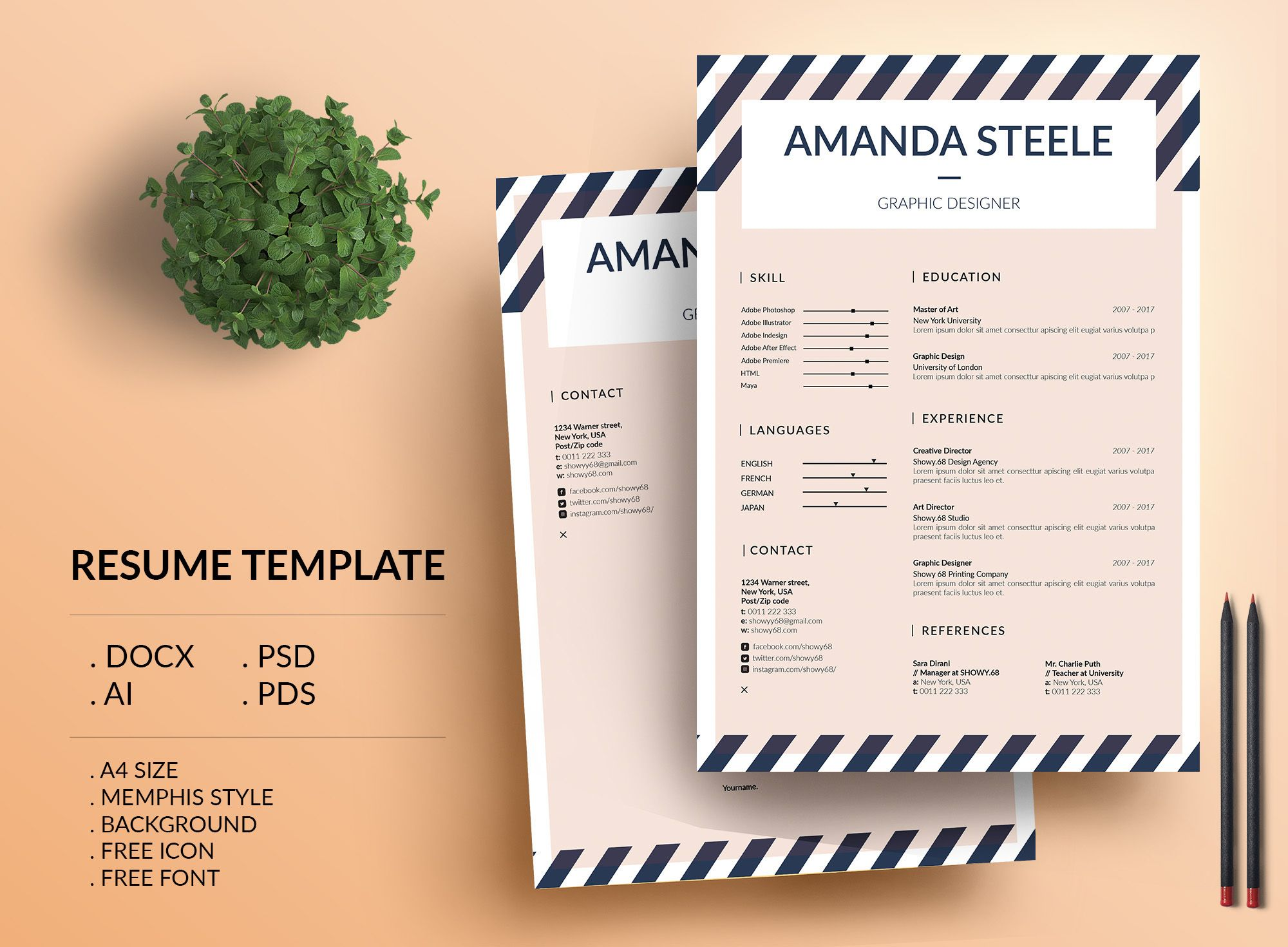 Check Out My Behance Project Memphis Resume Template  Cv