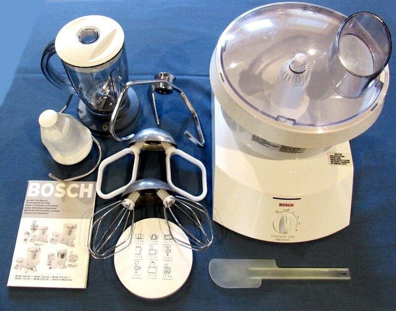 Bosch Mum 7100 Uc Concept 7000 Kitchen Machine Mixer With Extra Accessories Bosch Bosch Plastic Mixing Bowls Kitchen Machine