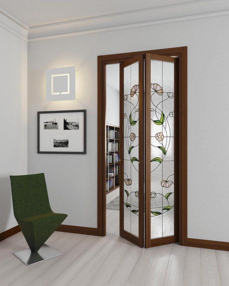 Zweiteilige Falttur Mit Holzrahmen Und Glasmalerei Innenturen Innentur Raumteiler