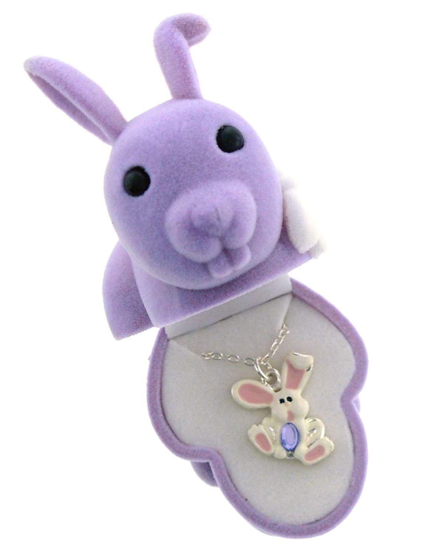 Bunny rabbit crystal pendant in figural gift box