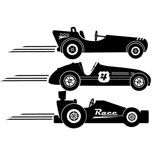 NEW DESIGN Race Cars Vintage Style Vinyl Wall Decal ORIGINAL ...