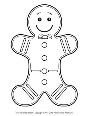 Gingerbread Man Template Clipart Coloring Page For Kids Mas