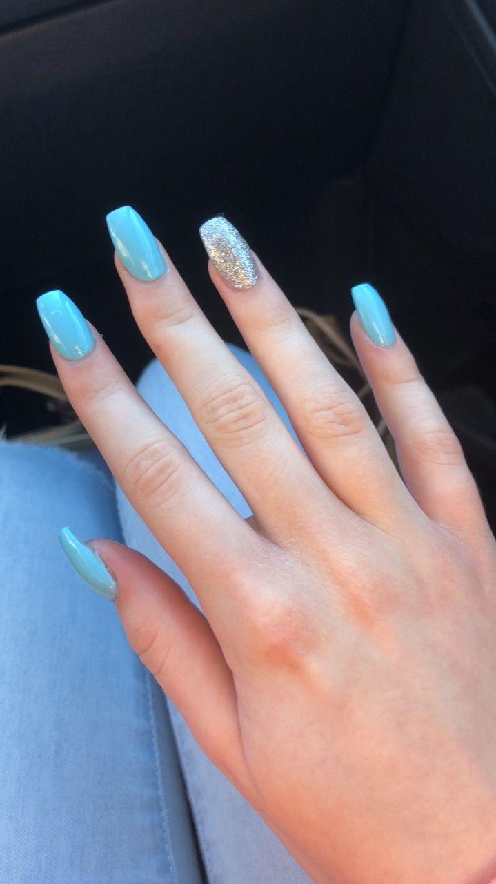 Blue Glitter Acrylic Nails Nail Nails Acrylicnails Acrylics Acrylic Glitter Blue Glitter In 2020 Blue Acrylic Nails Sparkle Acrylic Nails Glitter Nails Acrylic